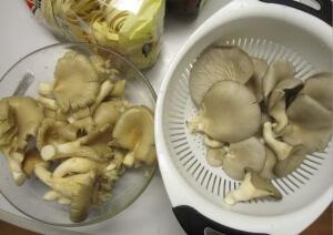 La photo a été prise après avoir lavé les champignons (gauche = marché / droite = Trivial)